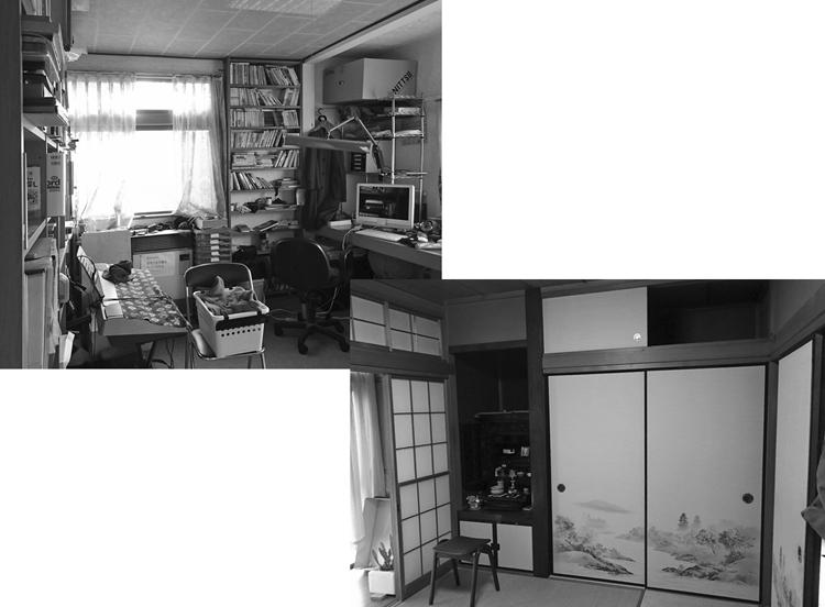 改修前の洋間(浴室・洗面脱衣・トイレに改修)と和室+縁側(多目的室に改修)