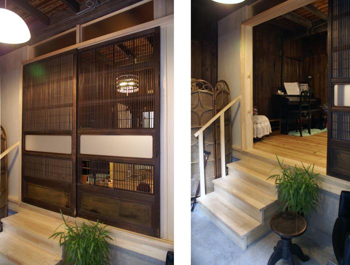 物置の奥に眠っていた大阪格子を活用し、店舗のイメージを再現。床を増築し生活の「場」を再生