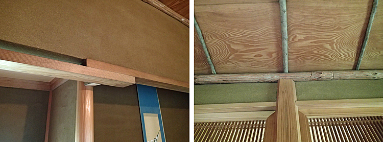 奥座敷の「草」の意匠 左:重ね継ぎの落し掛け、右:面皮付柱、丸太の廻り縁(ウリボウ柄)