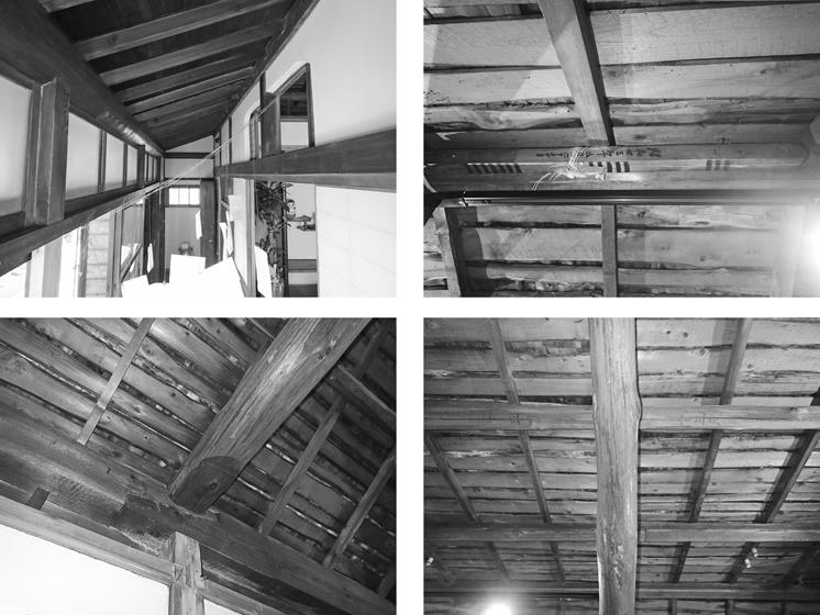 右上下と左下:続き間の小屋裏(右上が弊串)、左上:広縁の天井(化粧垂木と化粧野地板)