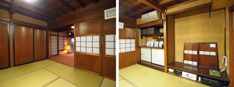 1階八畳間、違い棚のある床の間を設けながららも、天井は根太天井と田舎屋的である