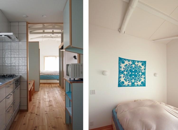 リフォーム後:(左)キッチンコーナー、(右)寝室コーナー