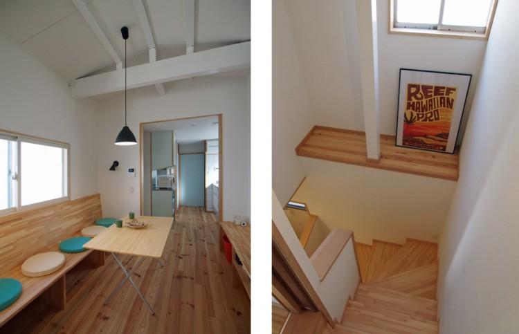 リフォーム後:(左)居間+食堂コーナー、(右)階段 ※この部分は断熱ゾーンの外