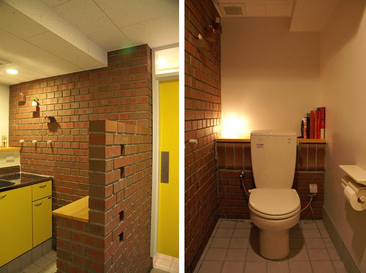 イギリス積パターン壁(奥)とフランス積パターン壁(手前)、 洞窟の中のように落ち着く女子トイレ