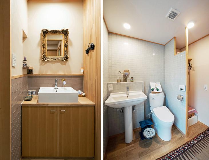 左 1階の洗面所、 右 2階の洗面トイレ