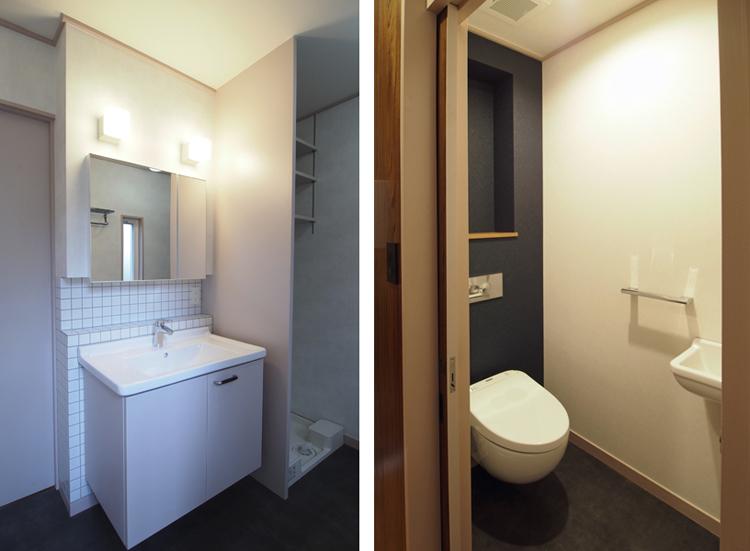 1階の水廻り:壁掛便器と洗面器を取付けた(共にデュラビット・スタルク3)