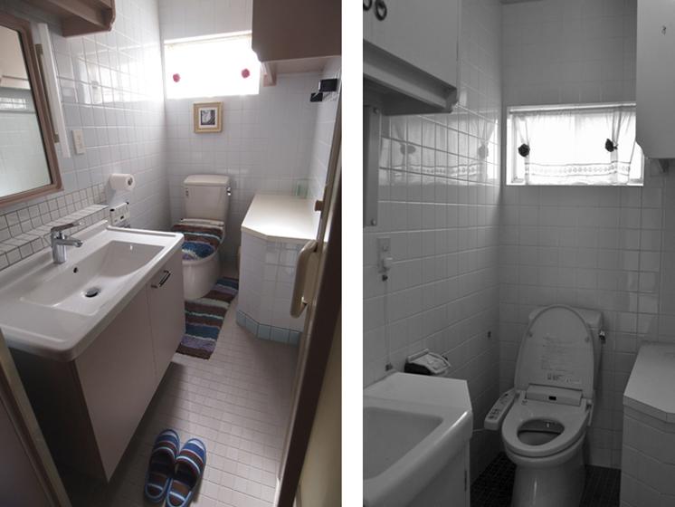 2階の水廻り:改修前(右)後(左)。床の防水、床タイル、衛生陶器を更新