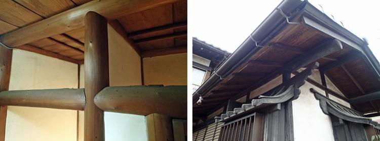 離れの便所 磨き丸太、右は便所出窓の庇:神社仏閣のような凝った意匠になっている