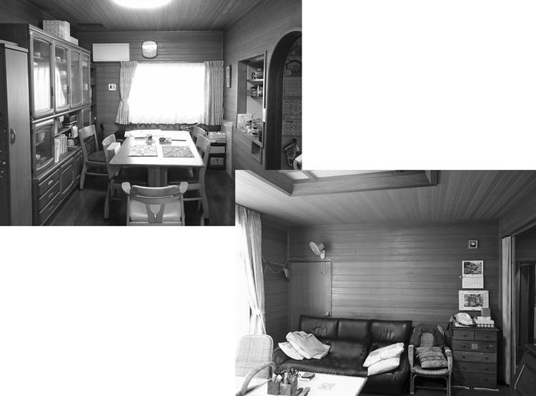 改修前の食堂と居間:居間の壁面を開口し多目的室と繋げた