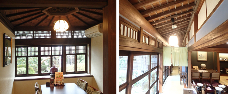 左:唐傘デザインの換気口 機能だけでなく、意匠まで高めたのが近代和風建築の特徴である 右側:縁側の欄間 ガラス欄間窓と欄間障子。共に開閉できる