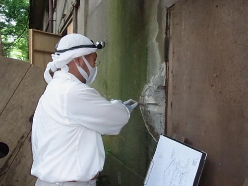 外壁を厚さを差し金で実測
