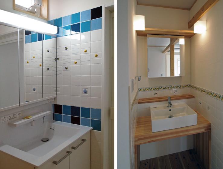 左:1階洗面所、右:2階洗面コーナー