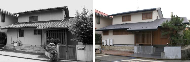 改修前と改修後:木格子で窓を統一し、正面性のある外観に整えた