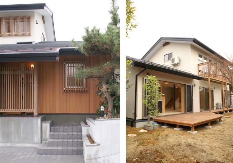 改修後の玄関アプローチと庭側のウッドデッキ