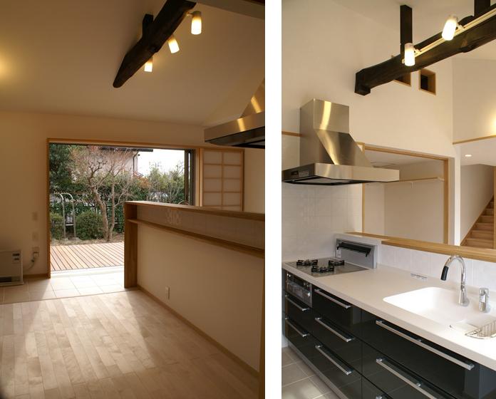 北側にあったキッチンは、南に配置し庭との繫がりも確保