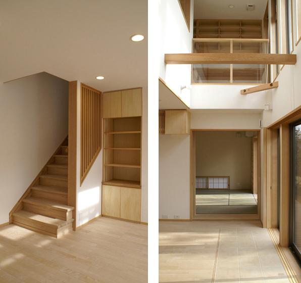 居間には吹き抜けを設け、冬期は自然光が部屋の奥まで到達するようになった。