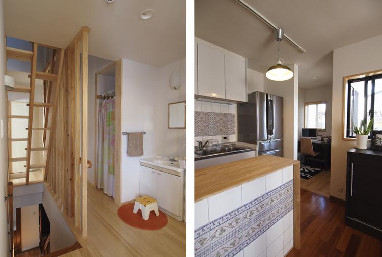 2階 ロフトのへ上がる互い違い階段を設置  キッチンの奥にはパソコンコーナーを増築